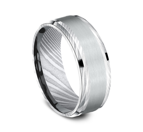 8MM DAMASCUS STEEL DESIGN BAND CF308813DSW 1 - 8MM DAMASCUS STEEL DESIGN BAND CF308813DSW