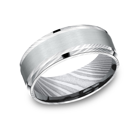 8MM DAMASCUS STEEL DESIGN BAND CF308813DSW - 8MM DAMASCUS STEEL DESIGN BAND CF308813DSW