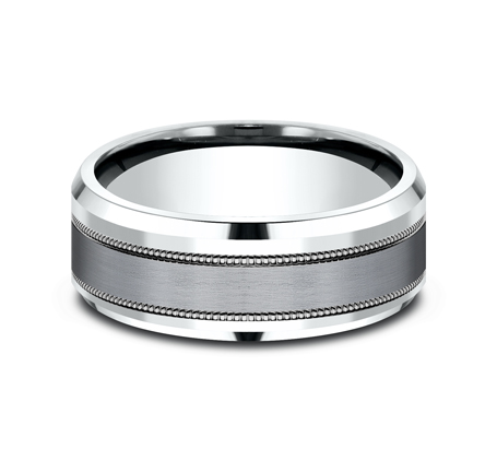 8MM MULTI MATERIAL WHITE GOLD DESIGN BAND CF458013SGTAW 2 - 8MM MULTI-MATERIAL WHITE GOLD DESIGN BAND CF458013SGTAW