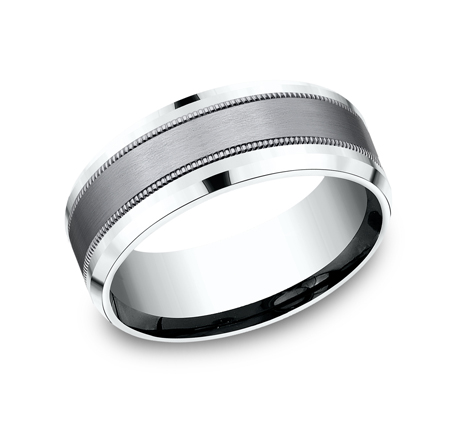 8MM MULTI MATERIAL WHITE GOLD DESIGN BAND CF458013SGTAW - 8MM MULTI-MATERIAL WHITE GOLD DESIGN BAND CF458013SGTAW