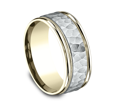8MM TWO TONED CARVED DESIGN BAND CF158308 1 - 8MM TWO-TONED CARVED DESIGN BAND CF158308