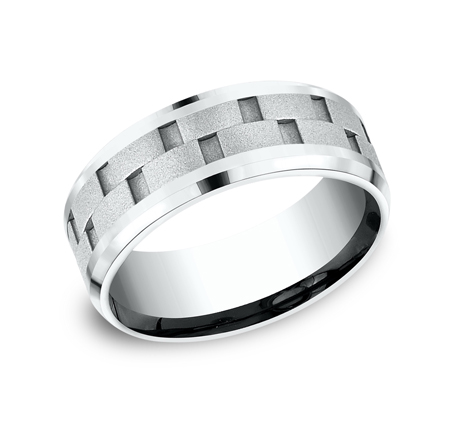 8MM WHITE GOLD DESIGN BAND CF408493W - 8MM WHITE GOLD DESIGN BAND CF408493W
