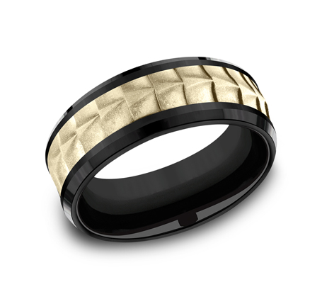 8MM YELLOW GOLD AND BLACK TITANIUM BAND CF378765BKTY - 8MM YELLOW GOLD AND BLACK TITANIUM BAND CF378765BKTY