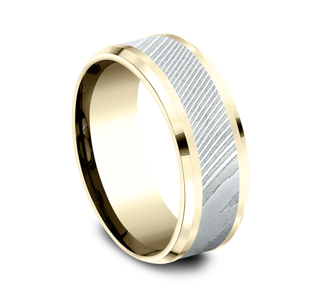 8MM YELLOW GOLD DESIGN BAND CF338814DSY 1 - 8MM YELLOW GOLD DESIGN BAND CF338814DSY