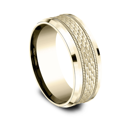 8MM YELLOW GOLD DESIGN BAND CF408497Y 1 - 8MM YELLOW GOLD DESIGN BAND CF408497Y
