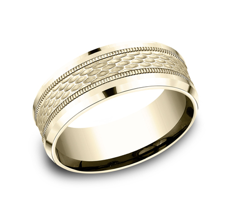 8MM YELLOW GOLD DESIGN BAND CF408497Y - 8MM YELLOW GOLD DESIGN BAND CF408497Y