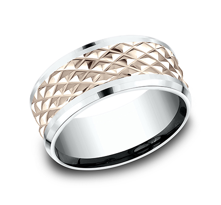 9MM EDGY ROSE GOLD DESIGN BAND CF439679 - 9MM EDGY ROSE GOLD DESIGN BAND CF439679