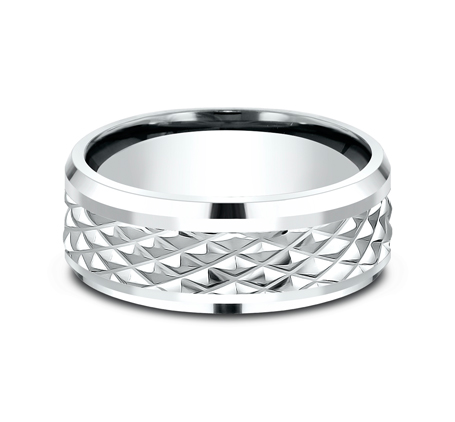 9MM WHITE GOLD DESIGN BAND CF409679W 2 - 9MM WHITE GOLD DESIGN BAND CF409679W