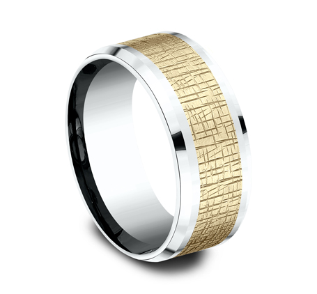 9MM YELLOW GOLD CENTER ON WHITE GOLD DESIGN BAND CF419752 1 - 9MM YELLOW GOLD CENTER ON WHITE GOLD DESIGN BAND CF419752