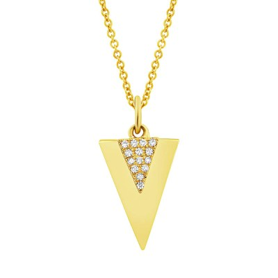 0.03ct 14k Yellow Gold Diamond Triangle Pendant SC55002944 - 0.03ct 14k Yellow Gold Diamond Triangle Pendant SC55002944