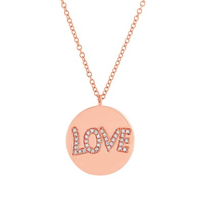 "0.08ct 14k Rose Gold Diamond Love Pendant SC55001940 - 0.08ct 14k Rose Gold Diamond ""Love"" Pendant SC55001940"