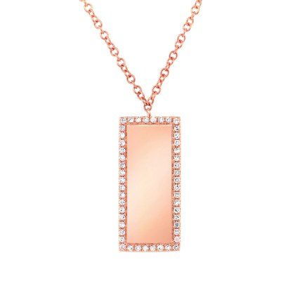 0.11ct 14k Rose Gold Diamond Bar ID Pendant SC55002349 - 0.11ct 14k Rose Gold Diamond Bar ID Pendant SC55002349