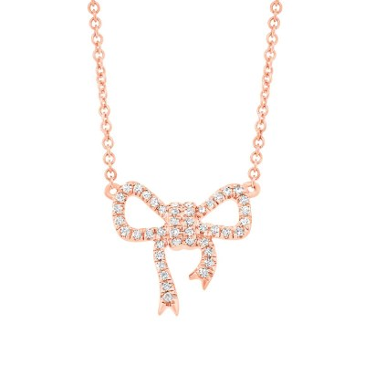 0.11ct 14k Rose Gold Diamond Bow Pendant SC55003687 - 0.11ct 14k Rose Gold Diamond Bow Pendant SC55003687