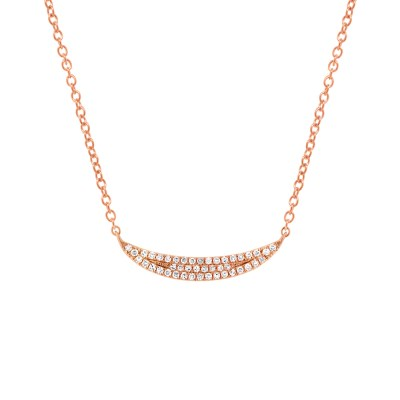 0.11ct 14k Rose Gold Diamond Pave Crescent Pendant SC55001918 - 0.11ct 14k Rose Gold Diamond Pave Crescent Pendant SC55001918