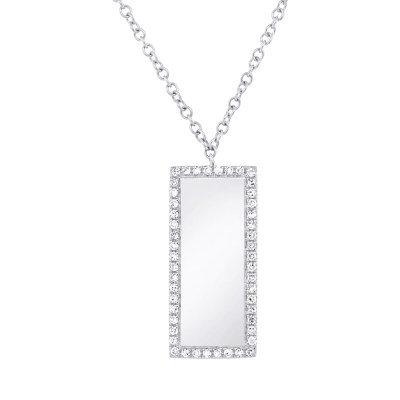 0.11ct 14k White Gold Diamond Bar ID Pendant SC55002347 - 0.11ct 14k White Gold Diamond Bar ID Pendant SC55002347