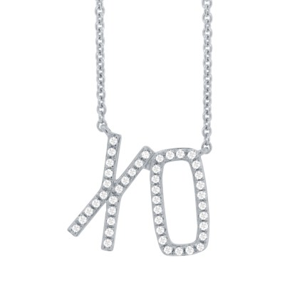 "0.13ct 14k White Gold Diamond XO Pendant SC36213083 - 0.13ct 14k White Gold Diamond ""XO"" Pendant SC36213083"