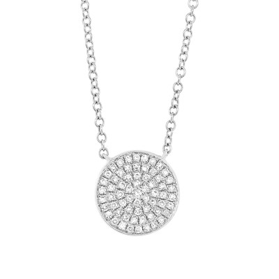 0.15ct 14k White Gold Diamond Pave Circle Pendant SC55002398 - 0.15ct 14k White Gold Diamond Pave Circle Pendant SC55002398