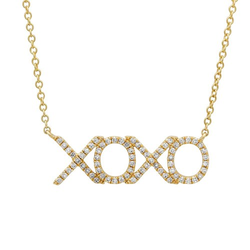 "0.19ct 14k Yellow Gold Diamond XOXO Pendant SC55001124 - 0.19ct 14k Yellow Gold Diamond ""XOXO"" Pendant SC55001124"