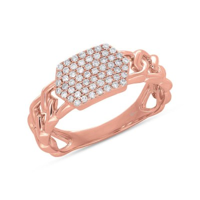 0.22ct 14k Rose Gold Diamond Pave ID Chain Ring SC36213799 - 0.22ct 14k Rose Gold Diamond Pave ID Chain Ring SC36213799