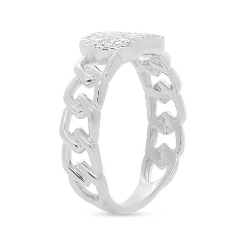 0.22ct 14k White Gold Diamond Pave ID Chain Ring SC36213797 2 - 0.22ct 14k White Gold Diamond Pave ID Chain Ring SC36213797