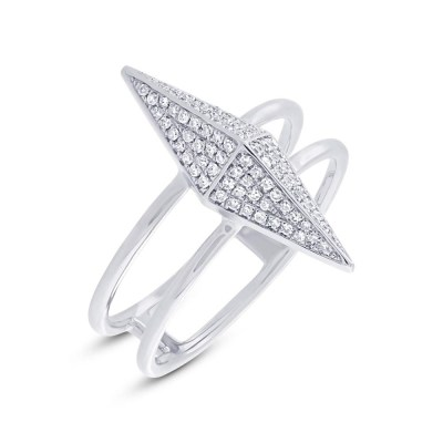 0.22ct 14k White Gold Diamond Pave Pyramid Ring SC55002079 - 0.22ct 14k White Gold Diamond Pave Pyramid Ring SC55002079