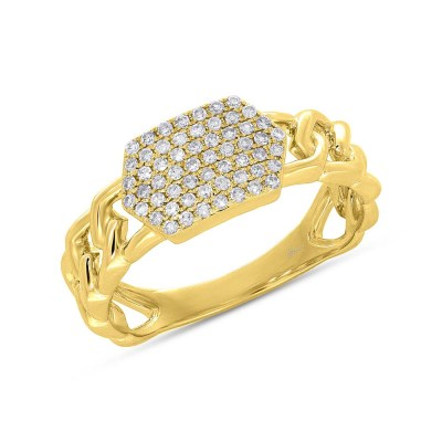 0.22ct 14k Yellow Gold Diamond Pave ID Chain Ring SC36213798 - 0.22ct 14k Yellow Gold Diamond Pave ID Chain Ring SC36213798