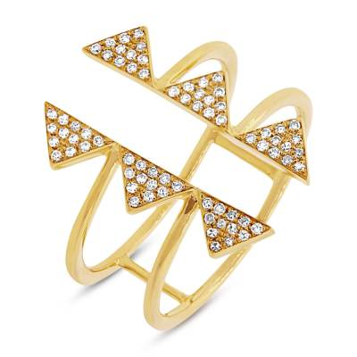 0.22ct 14k Yellow Gold Diamond Pave Triangle Ring SC55001308 - 0.22ct 14k Yellow Gold Diamond Pave Triangle Ring SC55001308