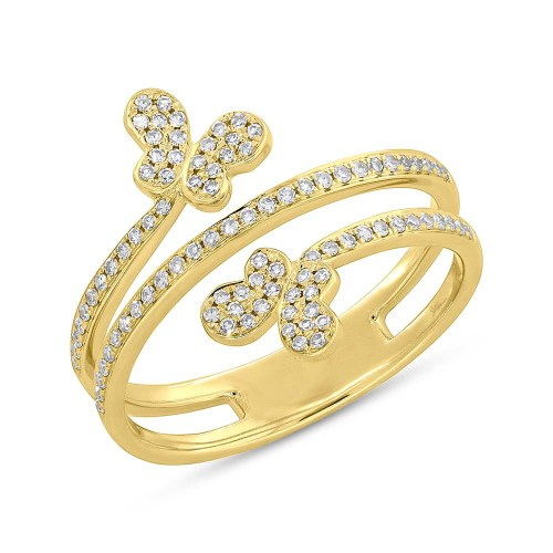 0.25ct 14k Yellow Gold Diamond Butterfly Ring SC55005310 - 0.25ct 14k Yellow Gold Diamond Butterfly Ring SC55005310