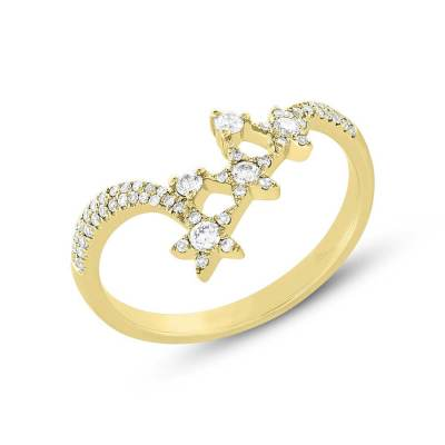 0.26ct 14k Yellow Gold Diamond Star Ring SC55004957 - 0.26ct 14k Yellow Gold Diamond Star Ring SC55004957