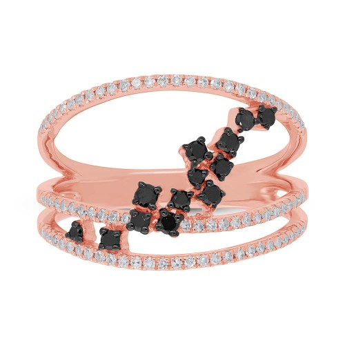 0.43ct 14k Rose Gold Black White Diamond Ladys Ring SC36213805 1 - 0.43ct 14k Rose Gold Black & White Diamond Lady's Ring SC36213805