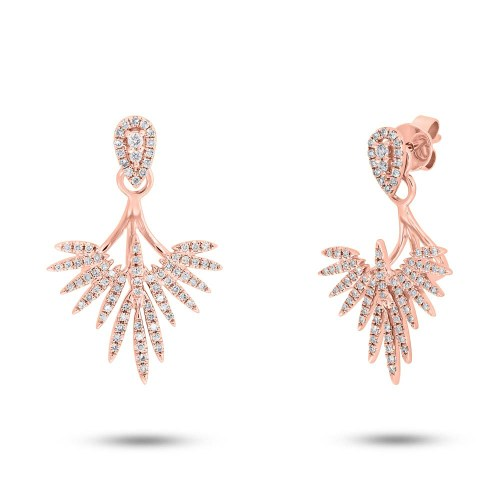 0.44ct 14k Rose Gold Diamond Ear Jacket Earring with Studs SC55005276 - 0.44ct 14k Rose Gold Diamond Ear Jacket Earring with Studs SC55005276