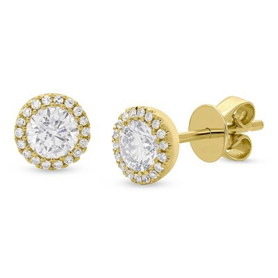 0.80ct Round Brilliant Center and 0.10ct Side 14k Yellow Gold Diamond Stud Earring SC55005504 - 0.80ct Round Brilliant Center and 0.10ct Side 14k Yellow Gold Diamond Stud Earring SC55005504
