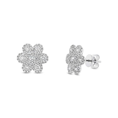 0.95ct 14k White Gold Diamond Flower Stud Earring SC55003100 - 0.95ct 14k White Gold Diamond Flower Stud Earring SC55003100