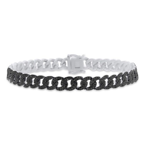 1.82ct 14k White Gold Black Diamond Pave Chain Bracelet SC55005798 - 1.82ct 14k White Gold Black Diamond Pave Chain Bracelet SC55005798