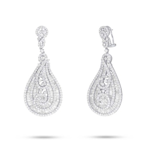 13.91ct 18k White Gold Diamond Baguette Earring SC37215529 - 13.91ct 18k White Gold Diamond Baguette Earring SC37215529