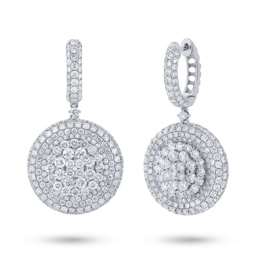 7.43ct 18k White Gold Diamond Pave Earring SC37214351 - 7.43ct 18k White Gold Diamond Pave Earring SC37214351