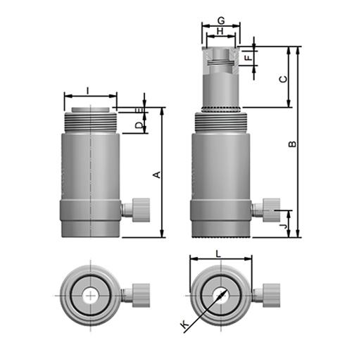 Cilindro Hidráulico - Simples Ação Vazado