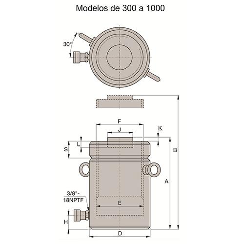 Cilindro de Aço Simples Ação Porca Trava