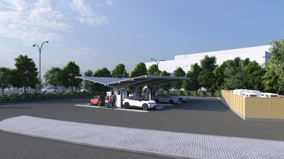 Monk's Cross Mock Up of the new EV charging hubs. A new modern day petrol station.