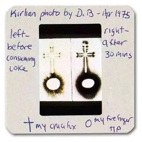 Kirlian photographs of David Bowie's crucifix, April 1975
