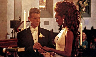 David Bowie and Iman at their wedding celebration, Florence, Italy, 6 June 1992