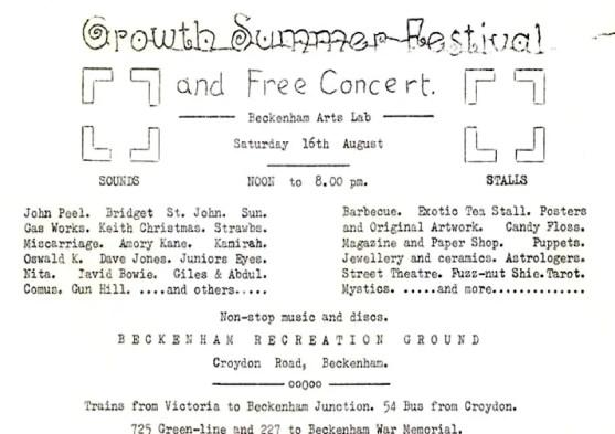 Beckenham Free Festival flyer
