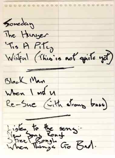 David Bowie's handwritten early song titles for Blackstar