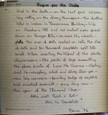 David Bowie's handwritten lyrics for Future Legend