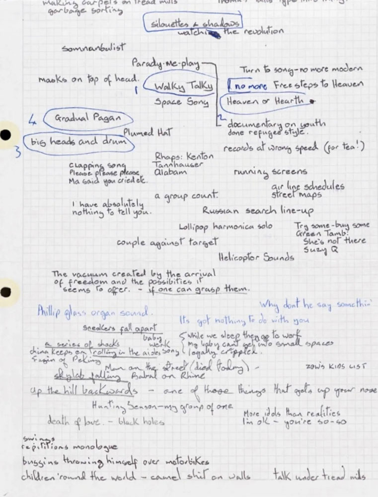 David Bowie's handwritten lyrics for It's No Game and Up The Hill Backwards