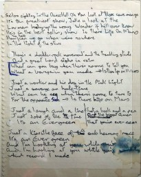 David Bowie's handwritten lyrics for 'Life On Mars?'