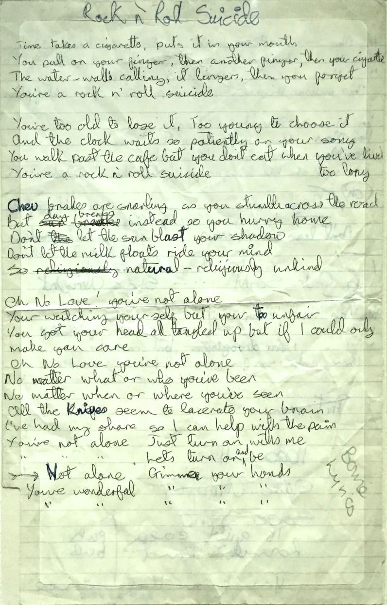 David Bowie's handwritten lyrics for Rock 'N' Roll Suicide