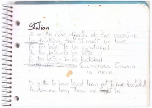 David Bowie's handwritten lyrics to Station To Station