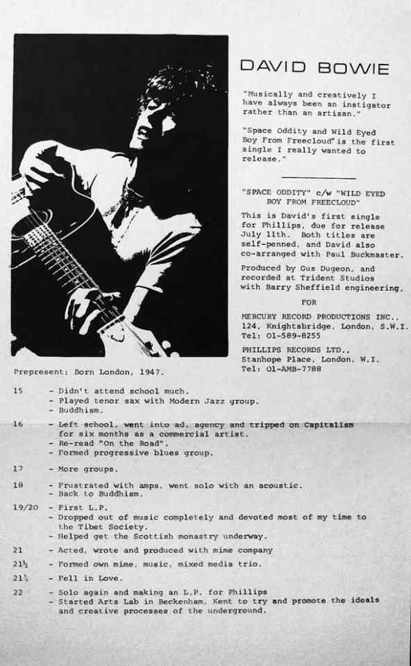 UK press release for the 'Space Oddity' single, 1969