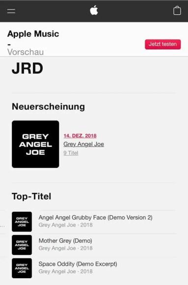 Spying Through A Keyhole tracks on Apple Music, credited to Grey Angel Joe, December 2018